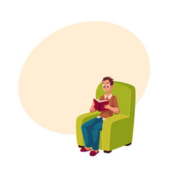 young man boy reading book sitting comfortably in vector image