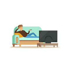 Young man sitting on a sofa in a living room in vector
