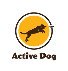 Active dog logotype dog silhouette isolated on vector