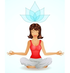 Beautiful brunette girl in meditation position vector
