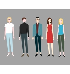Five people flat set vector