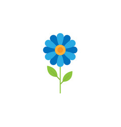 Blue flower flat icon vector