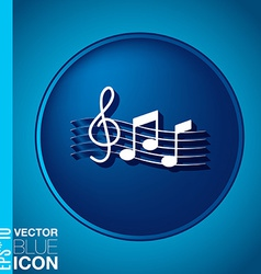 Musical notes and treble clef symbol muzykiki icon vector