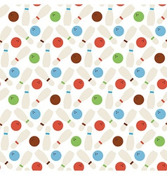 Flat seamless sport and recreation bowling pattern vector