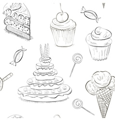 Seamless sweet sketch vector