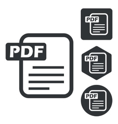 Pdf document icon set monochrome vector