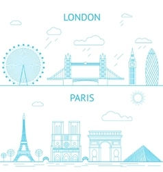 London and paris skyline in lines vector