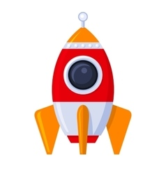 Rocket space ship in flat style vector