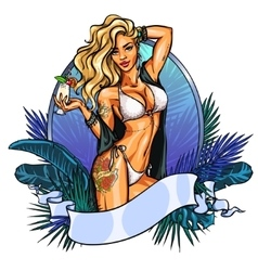 Party girl in bikini with cocktail label vector