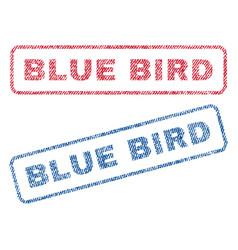 Blue bird textile stamps vector