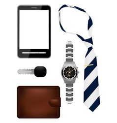Bussiness man accessories set vector image vector image