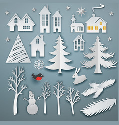 christmas paper cut elements vector image vector image