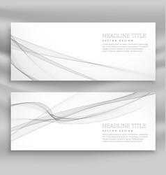 Clean gray wave banner template vector