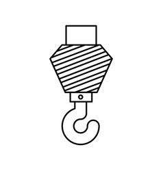 crane hook flat icon monochrome silhouette vector image