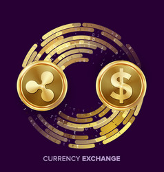 Digital currency money exchange ripple vector