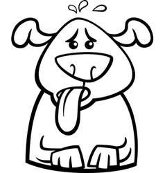 dog in heat cartoon coloring page vector image