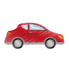 Drawing red car sedan vehicle transport vector