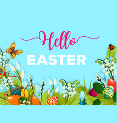 Easter egg hunt poster greeting card design vector