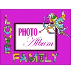 Family weddng album cover vector