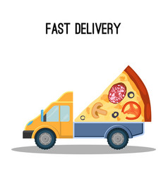 fast delivery advertisement banner with huge piece vector image vector image