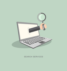 flat design with icons search services vector image vector image
