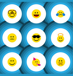 Flat icon emoji set of cold sweat angel laugh vector