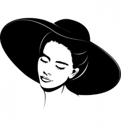 girl in hat vector image vector image