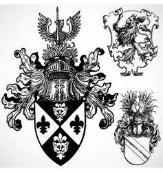 Gothic crest ornaments vector