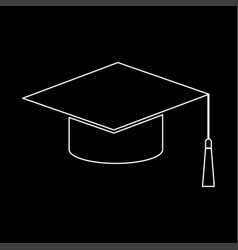 Graduation cap white color path icon vector