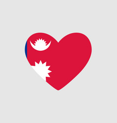 Heart of the colors of the flag of nepal vector