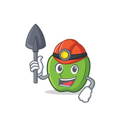 Miner green apple character cartoon vector