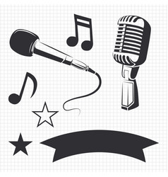modern and retro microphones vector image vector image