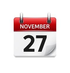 November 27 flat daily calendar icon vector