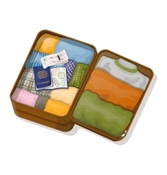 Open suitcase with clothes passports with visas vector