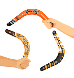 Painted traditional australian boomerang tools in vector