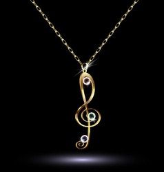 pendant with a treble clef vector image