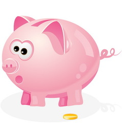 Piggy bank and coin vector