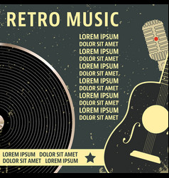 Retro music poster template vector