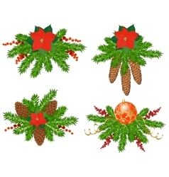 Set of christmas tree decorations vector