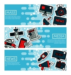 Set of Horizontal Banners about mass media vector image vector image