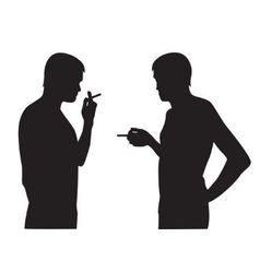 silhouettes of men smoking vector image vector image