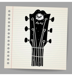 Sketch of an acoustic guitar neck vector
