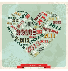 Vintage Happy New year 2013 concept heart vector image vector image