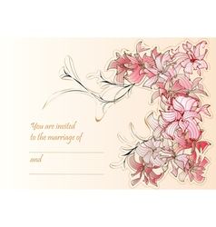 Wedding card with flowers vector