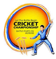 Player fielding in cricket championship sports vector