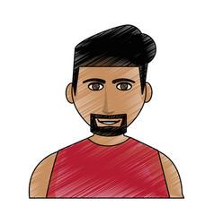 Color pencil cartoon half body man with muscular vector