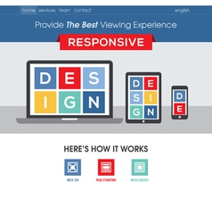 Responsive design website template vector