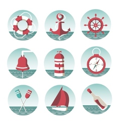 Icons on the marine theme vector