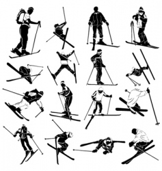 ski silhouette people vector image