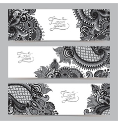 Set of three grey horizontal banners with vector
